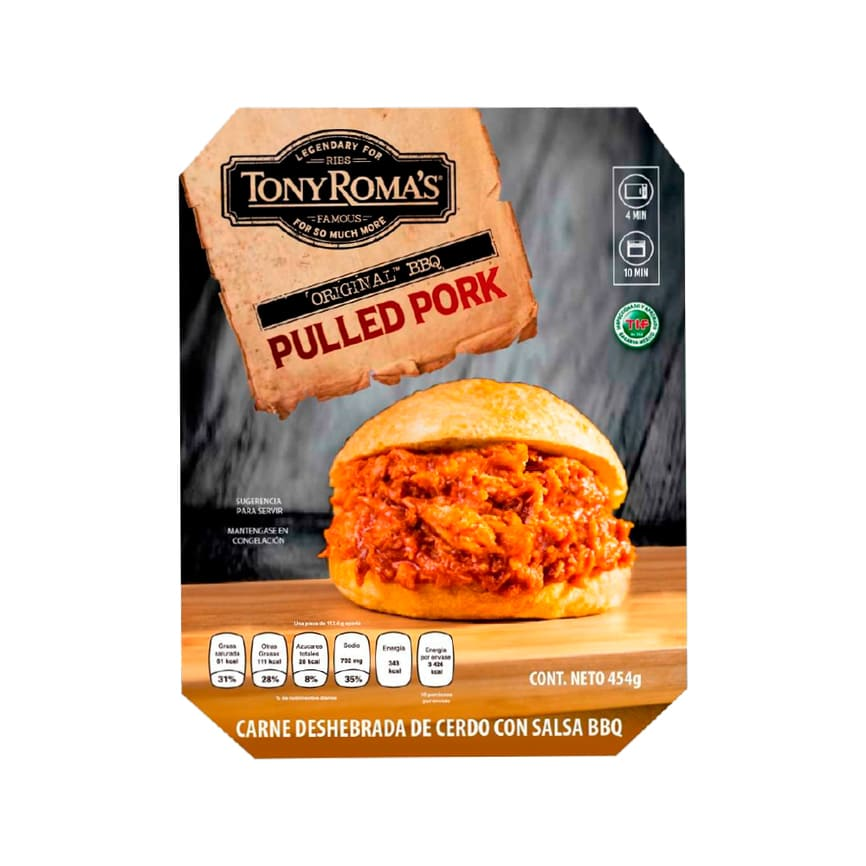 PULLED PORK BBQ TONY ROMAS PZ 454 g